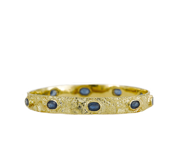 Textured Seascape Bangle with Blue Sapphires set in 18kt Gold