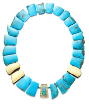 Turquoise and 18kt Gold Necklace with Australian Boulder Opal Clasp