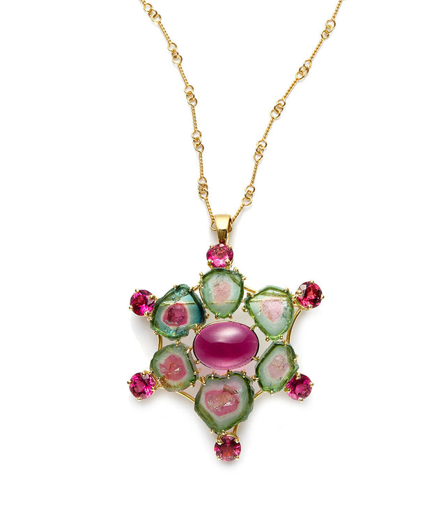 Watermelon Tourmaline Pendant Set in 18kt Gold