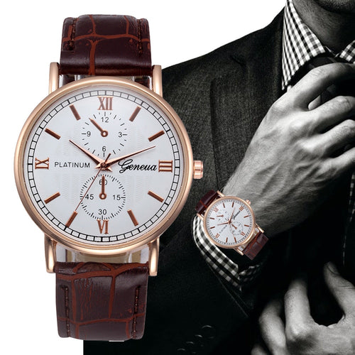 Luxury Leder Herrenuhr