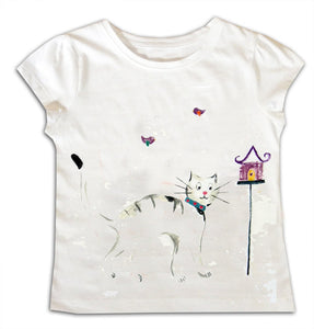 Girls Cat T-Shirt, Gift for Cat Lover, Girls Clothing, Toddler Clothes, Gift for Girls