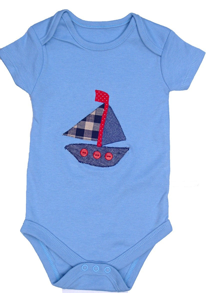 Baby Sailing Boat Bodysuit, Baby Boy Clothing, Baby Boy Gift, Gift for Baby
