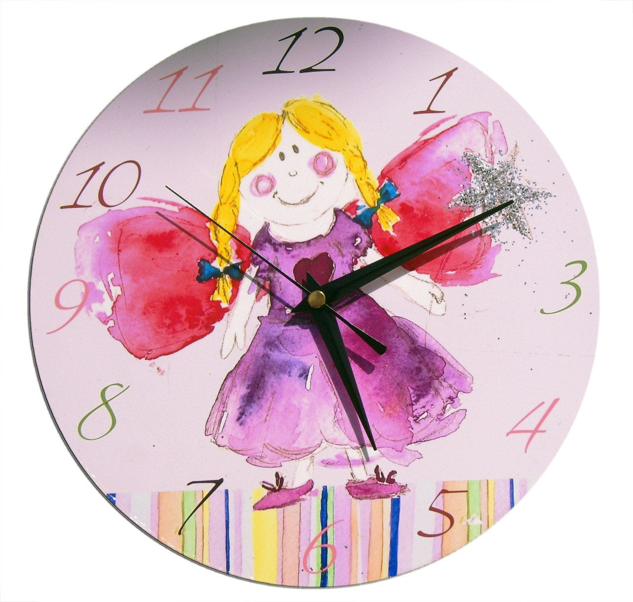 Girls Fairy Clock, Gift for Girls, Kids Wall Clock, Girls Room, Nursery Decor