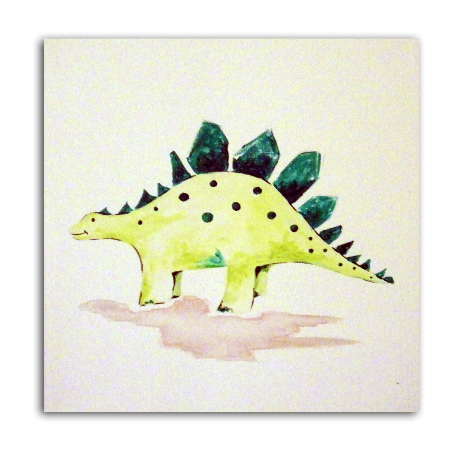 Dinosaur Art - Stegosaurus, Painting on Canvas, Boys Nursery Decor, Dinosaur Wall Decor, Gift for Boys, Dinosaur Gift