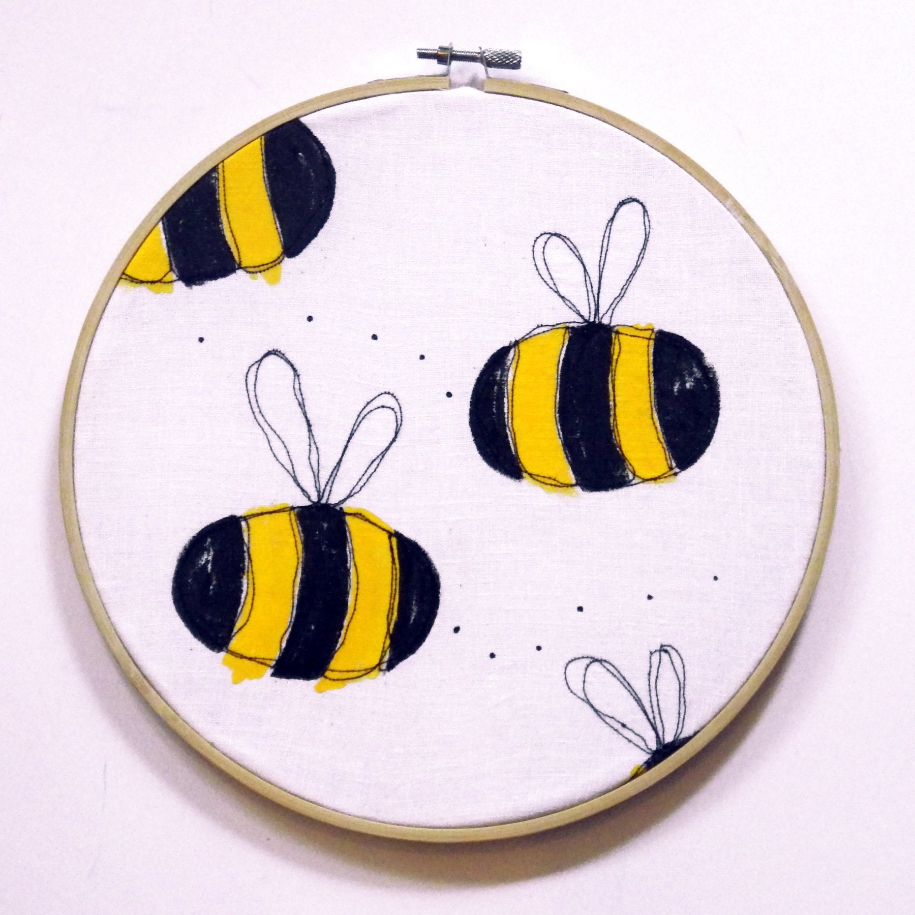 Bumble Bee Embroidery Hoop Art, Girl's Nursery Decor, Bee Lover Gift, Bee Wall Art