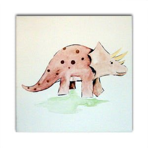 Dinosaur Art, Triceratops Art, Dinosaur Painting, Boys Nursery Decor, Dinosaur Decor, Gift for Boys