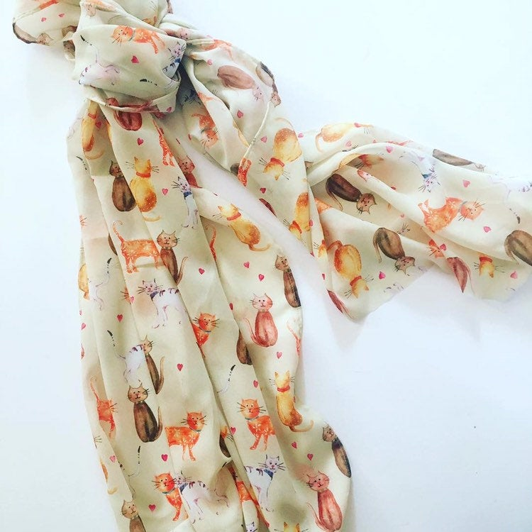 Large Cat Chiffon Scarf, Woman's Scarf, Spring Summer Autumn Scarf, Gifts for her, Mother's Day Gift, Gift for Cat Lover