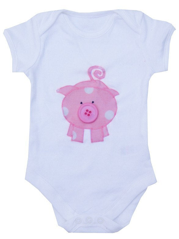 Baby Girls Pig Bodysuit, Baby Girl Clothing, Gift for Babies, Pig Lover, Pig Gift