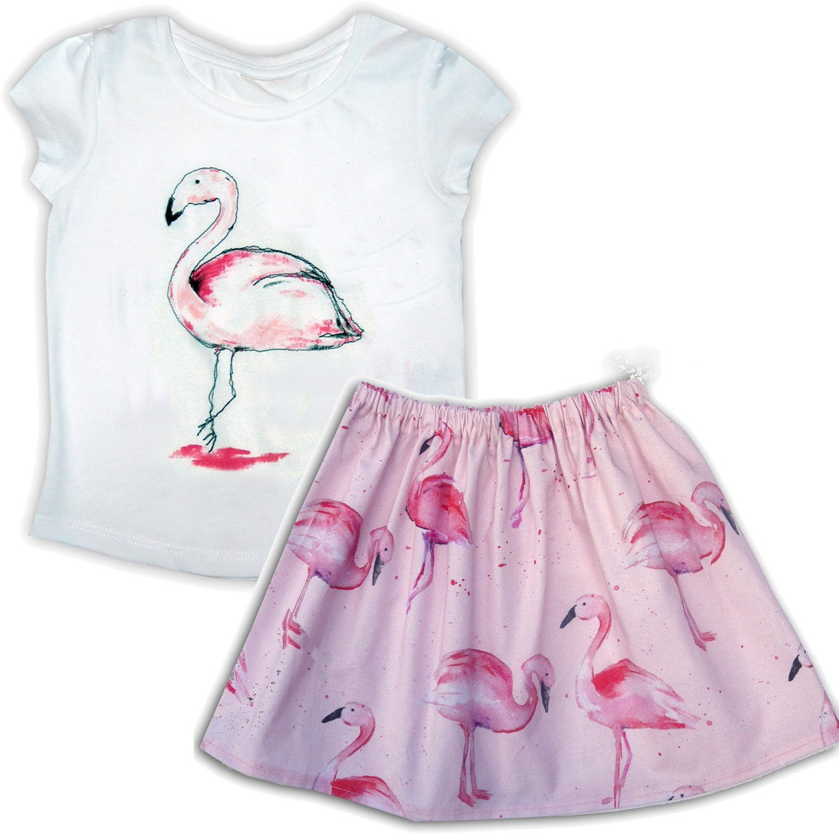 Girl's Flamingo Skirt and T-Shirt Outfit, Kids Clothing, Baby Clothes, Toddler Clothing, Gift for Girls