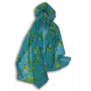 Large Frog Chiffon Scarf, Woman's Scarf, Spring Summer, Autumn Scarf, Gifts for her,  Mother's Day Gift