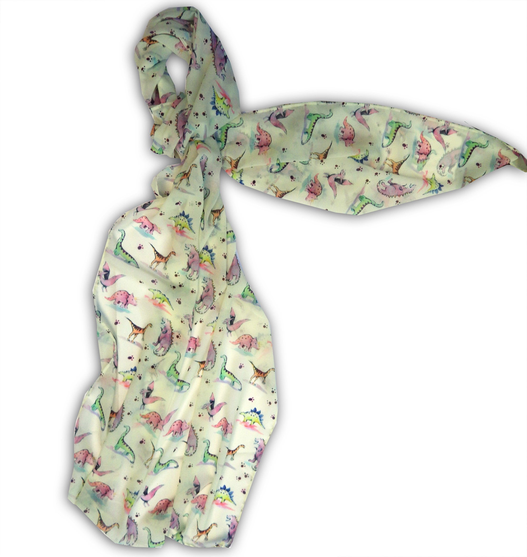Large Dinosaur Chiffon Scarf, Woman's Scarf, Spring Summer Autumn Scarf, Gifts for her, Mother's Day Gift, Gift for Car Lover