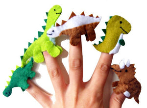 Dinosaur Finger Puppets / Kids Felt Puppet - 5 / Boys Stocking Filler / Party Favour / Gift for Boys