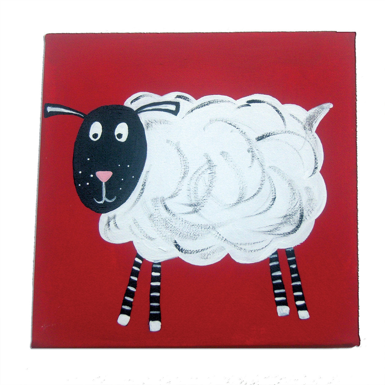 Farm Animal Sheep Art, Painting on Canvas, Farm Decor, Sheep Painting, Baby Boy Nursery, Original Art