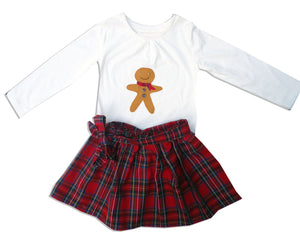 Girls Christmas Outfit, Gingerbread Man Tartan Skirt and T Shirt, Girls Clothing, First Christmas
