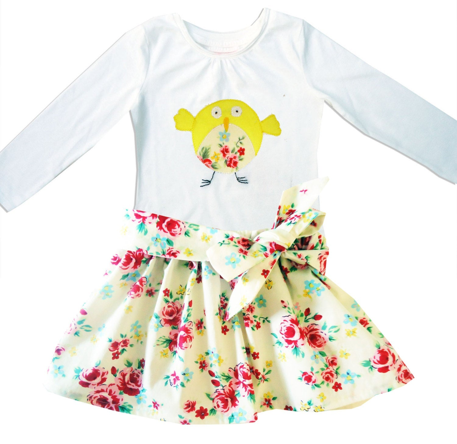 Girls Bird Skirt and T-shirt Outfit, Easter Clothing, Toddler Clothes, Gift for Girls