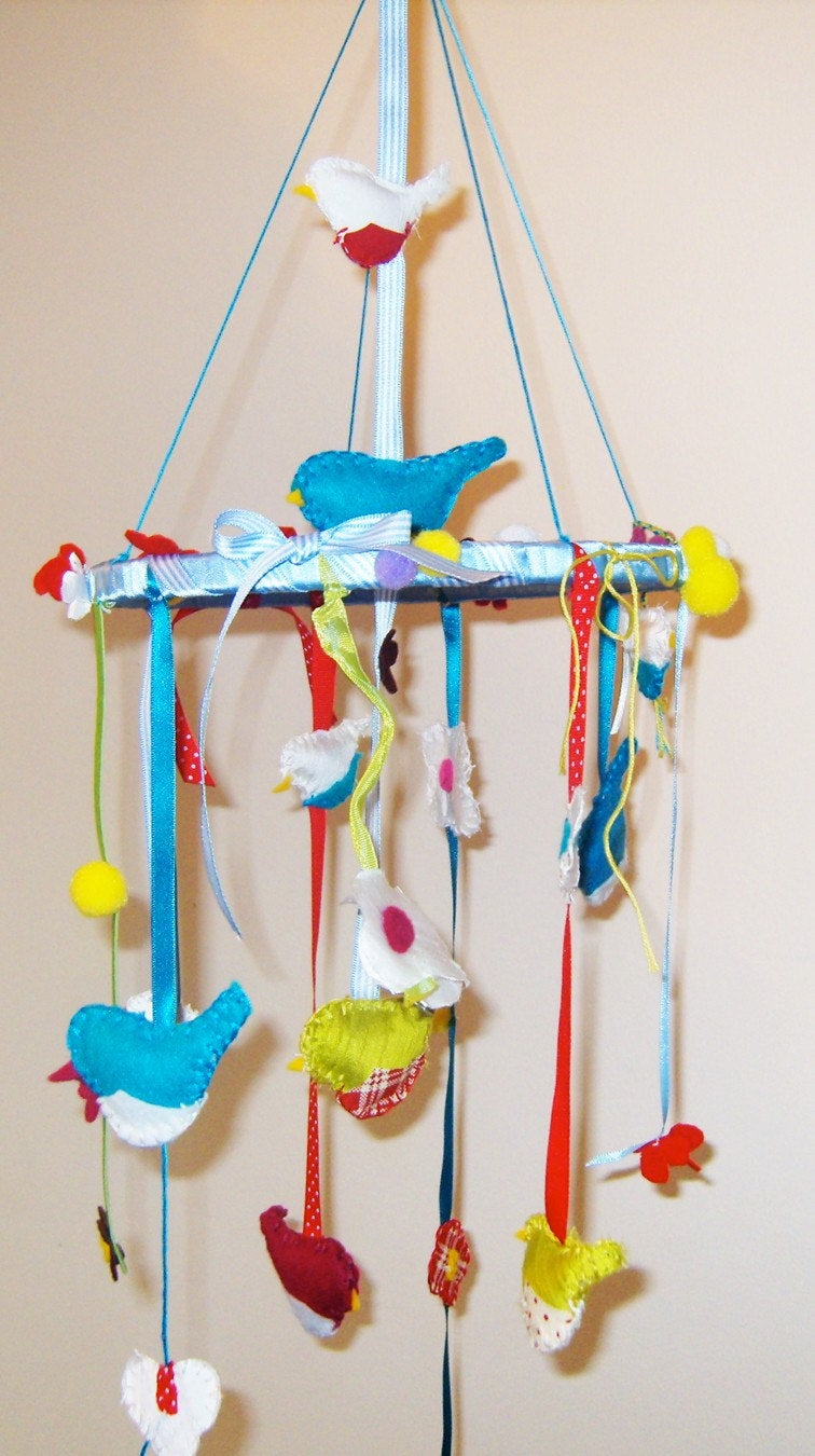 Bird Baby Cot Mobile, Ceiling Mobile, Baby Girl Nursery Decor, Gift for Baby, Bird Nursery