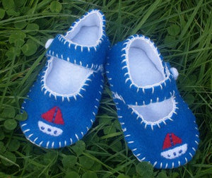 Boat Boys Baby Shoes, Felt Baby Shoes, Baby Boy Gift, Crib Shoes, Pre-walker, Gift for Baby
