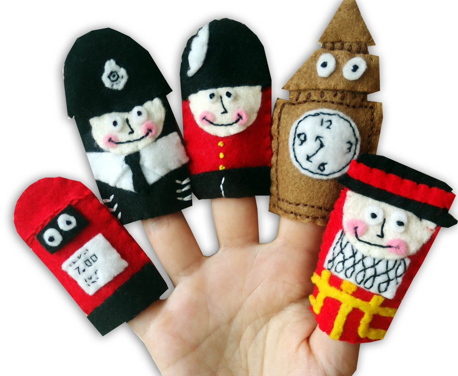 British Finger Puppets, English Gift, Traditional Kids Toys, London, Felt Finger Puppets, Stocking Filler