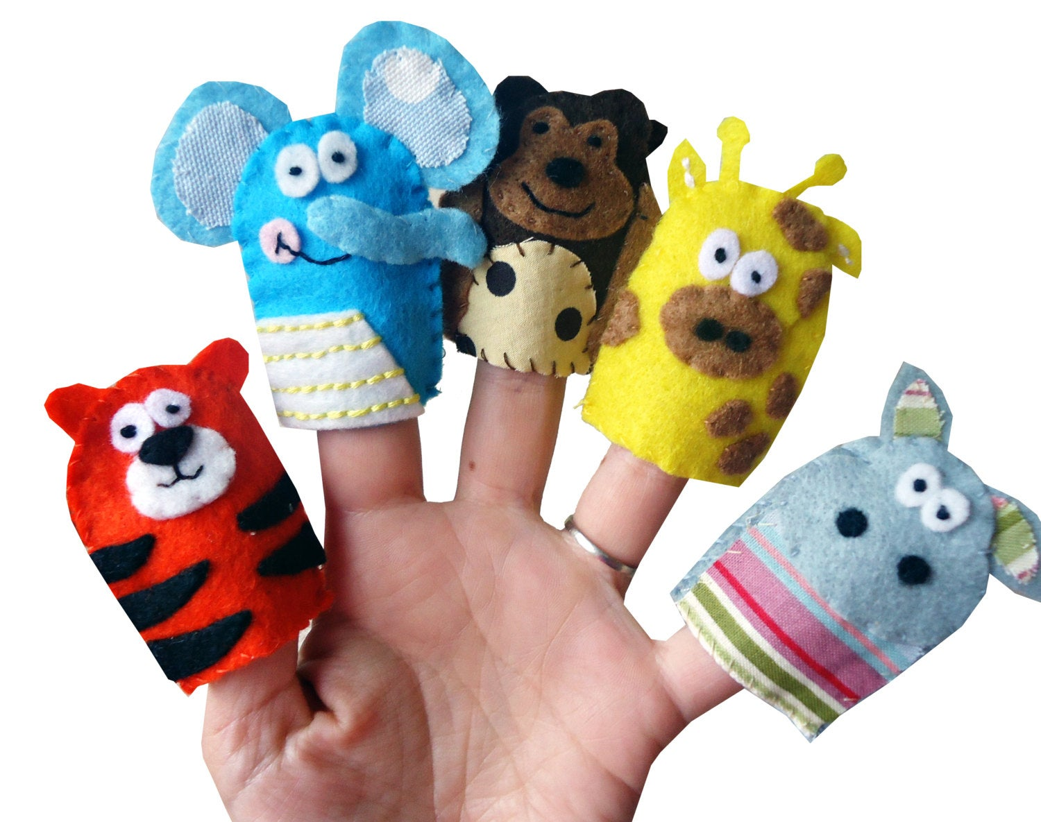 Jungle Animal Finger Puppets, Kids Stocking Filler, Party Favors, Traditional Toys