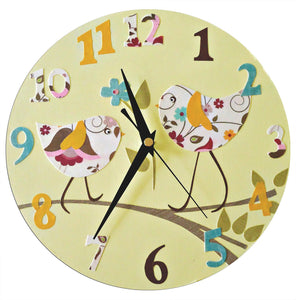 Bird Clock,  Personalised Clock,  Girls Nursery Decor - Blue, Pink, Yellow, Baby Girl Gift, Gift for Girls, Wall Clock