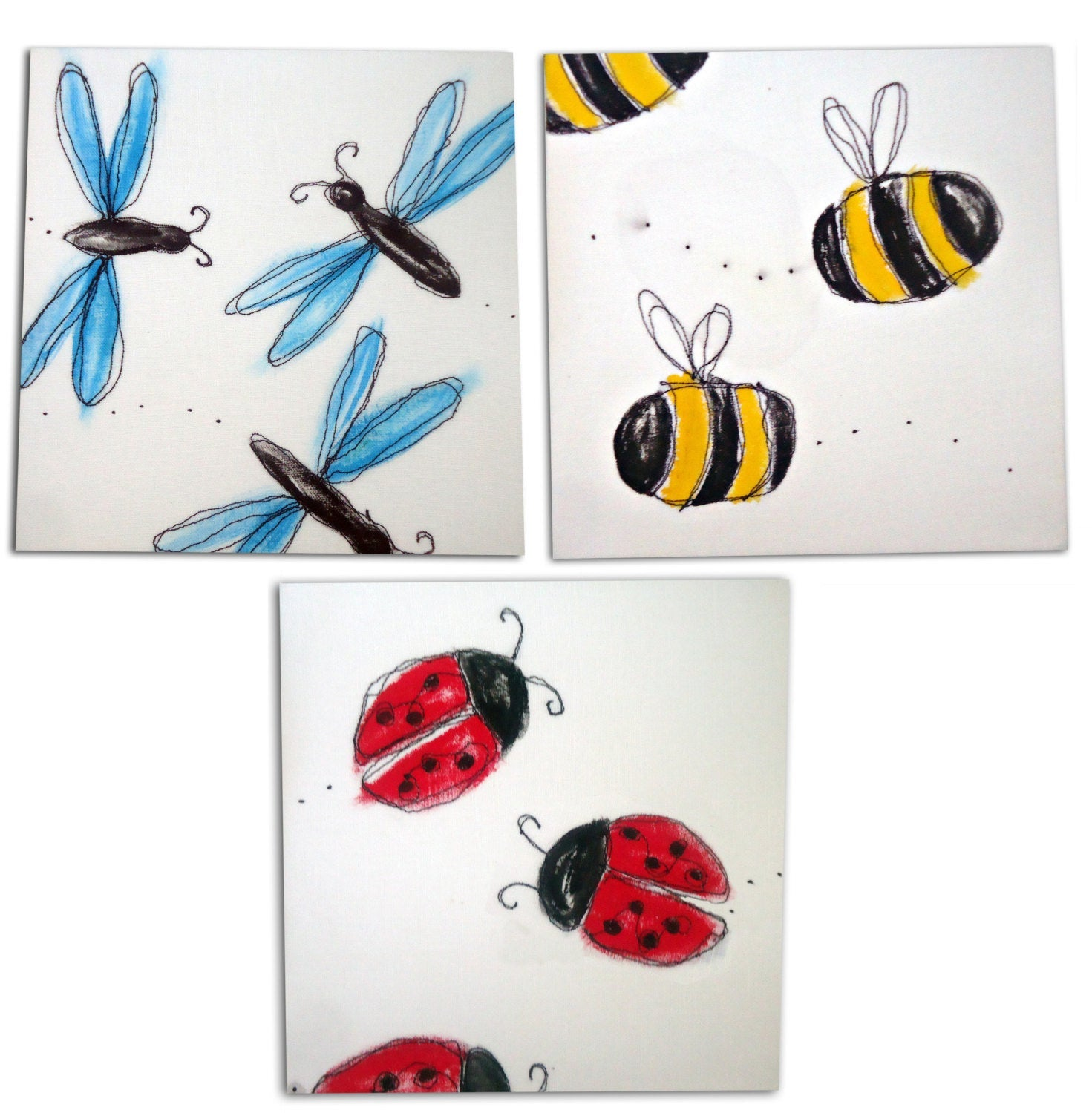 Bee, Ladybird and Dragonfly Art Set of 3 , Bug Nursery Decor, Insect Canvases, Bug Art, Insect Art