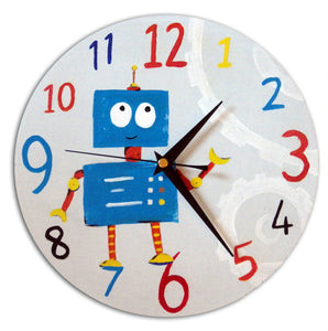 Boys Robot Clock, Nursery Wall Clock, Boys Nursery Decor, Wall decor, Nursery Clock, Gift for Boys