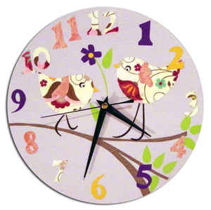 Bird Clock - Blue, Pink, Yellow, Girls Clock, Personalised Clock, Personalized Clock, Baby Girl Nursery, Gift for Girls