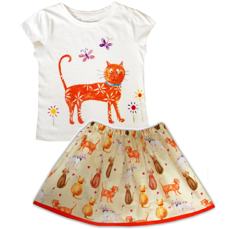 Girls Cat Skirt and T-Shirt / Cat Lover, Gift for Cat Lover, Girls Clothing, Toddler Clothing, Gift for Girls