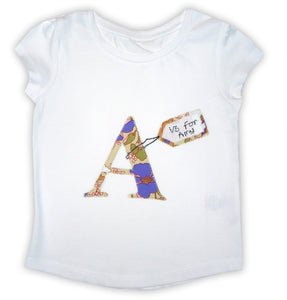 Girl's Personalised T-Shirt, Alphabet, Letter Tee Shirt, Gifts for Girls, Girls Clothing, Personalised Gift