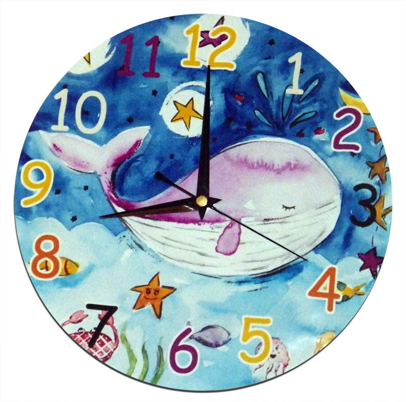 Kids Whale Clock, Whale Decor, Boys Clock, Nursery Decor, Wall Clock