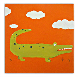 Crocodile Art, Jungle Animal Crocodile Painting on Canvas, Jungle Decor, Nursery Art