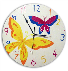 Butterfly Clock, Girls Nursery Decor, Wall Clock, Butterfly Decor, Gift for Girls