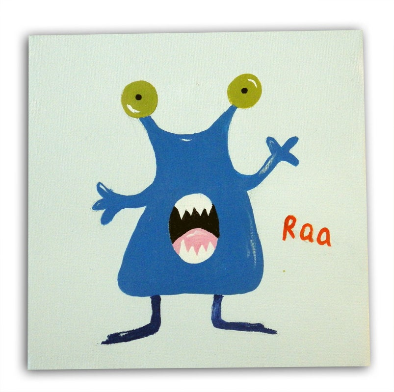 Boys Monster Art, Monster Painting on Canvas, Kids Art, Boys Decor, Wall Art