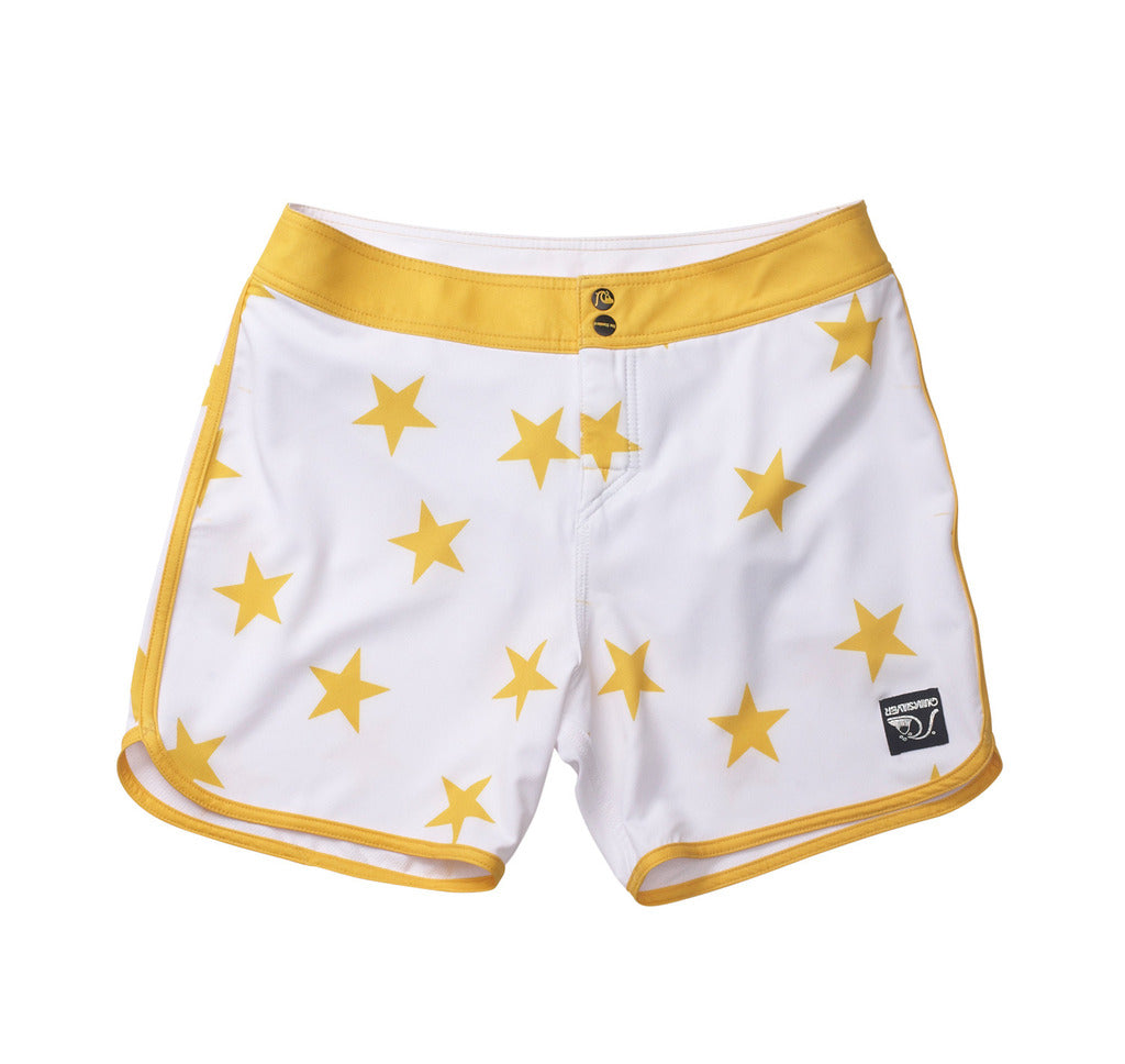 Standard / Quiksilver OG Scallop White and Yellow Stars Boardshorts