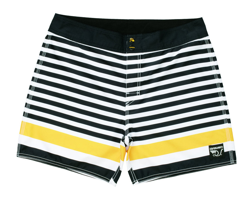 Standard / Quiksilver Biarritz White, Black and Yellow Boardshorts
