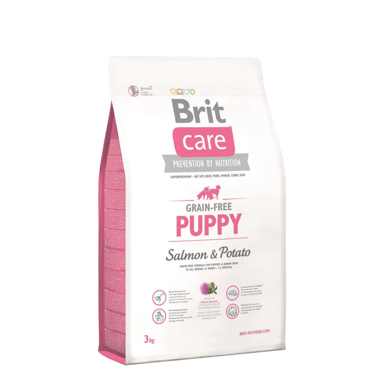 Alimento para perros Puppy Salmon Brit Care. Bulldog, Poodle, Pug, Golden retriever visita veterinaria en chicureo alimentos
