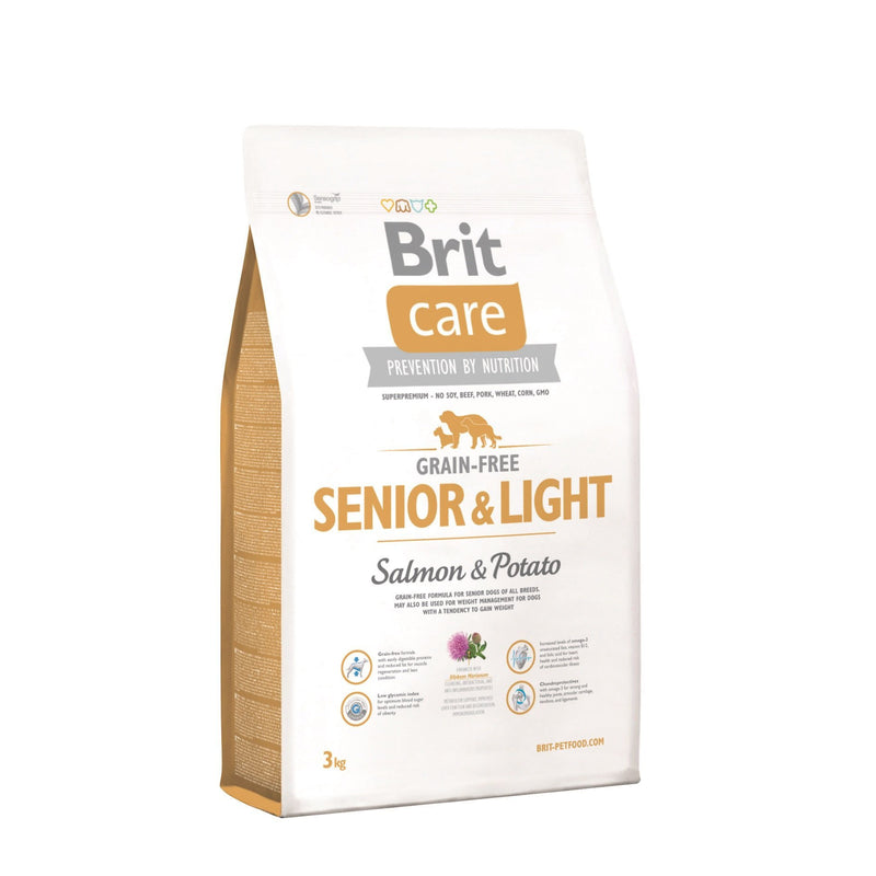 Alimento para perros Senior Light Salmon Brit Care. Bulldog, Poodle, Pug, Golden retriever visita veterinaria en chicureo alimentos