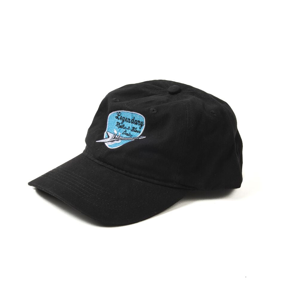 black hat with embroidered rhythm and blues cruise logo