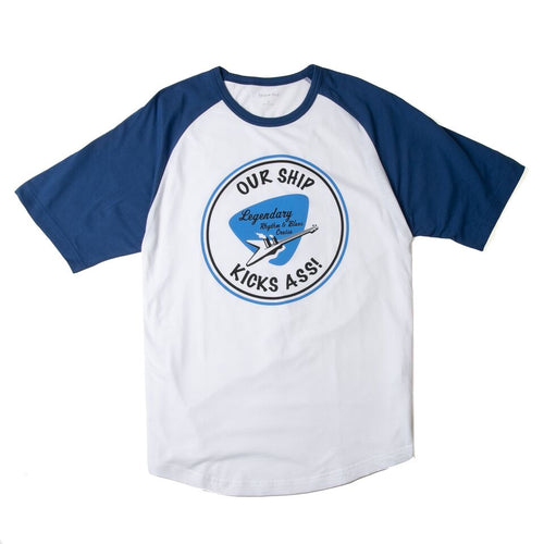 White/Blue Logo Raglan T-Shirt