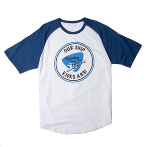 blue and white raglan with rhythm and blues cruise logo