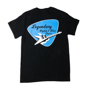 black t-shirt with rhythm and blues cruise logo printed on back