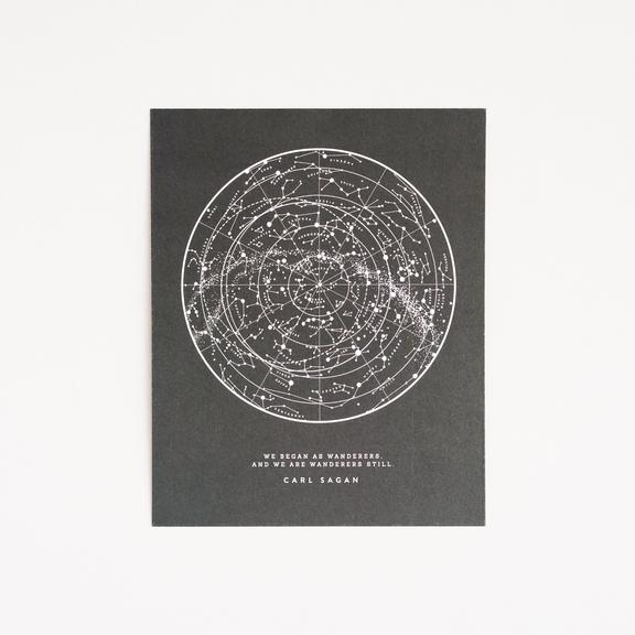 Mini Black Sagan Star Chart Print