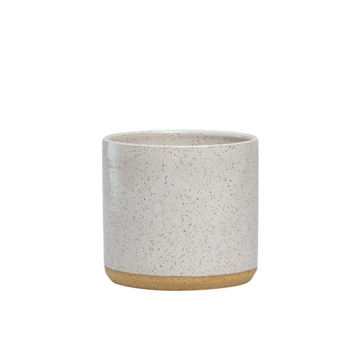 White Handmade Speckled Planter