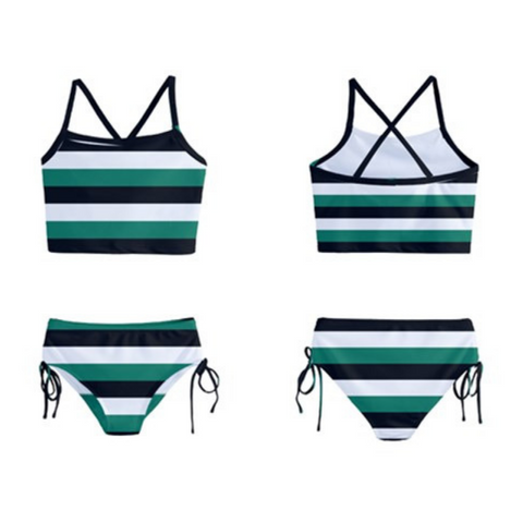 Emerald Stripes Tankini - Sassy Bassett Designs