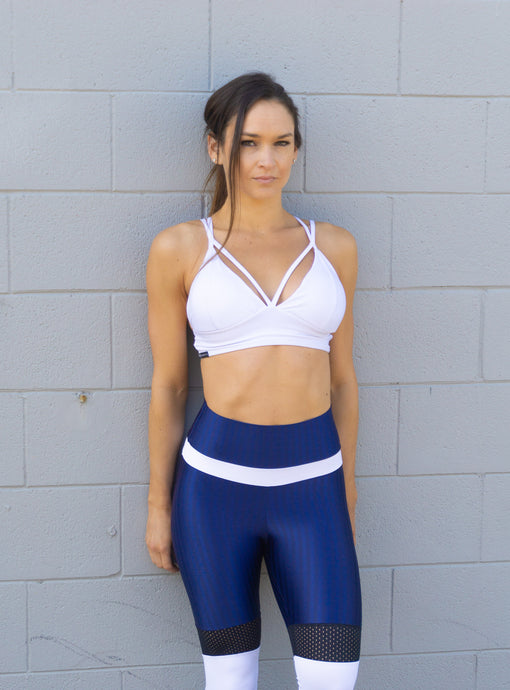 WHITE STRING SPORTS BRA