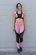 Load image into Gallery viewer, PINK AND BLACK MIX SPORTS BRA