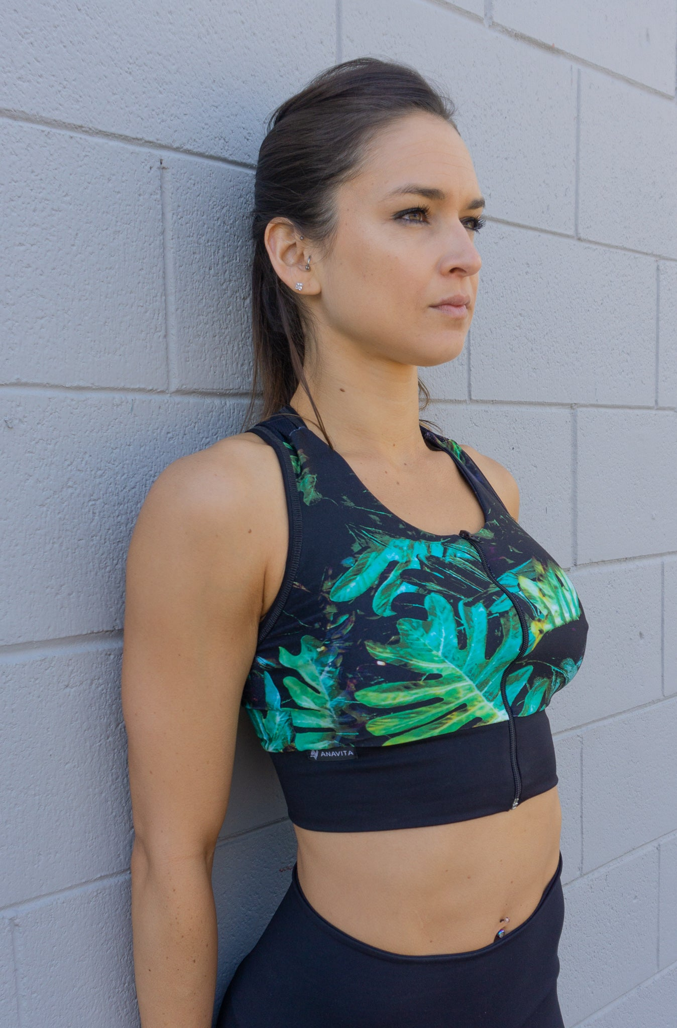 GREEN LEAF FRONT ZIPPER TOP