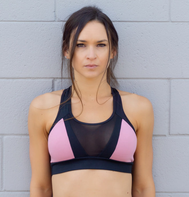 PINK AND BLACK MIX SPORTS BRA