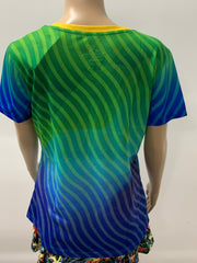 Purely Pickleball  Green Blue Shirt Women