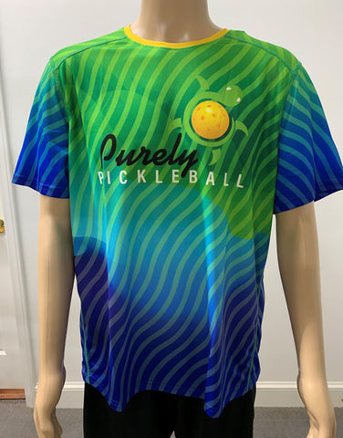 Purely Pickleball Blue Green Tee Men